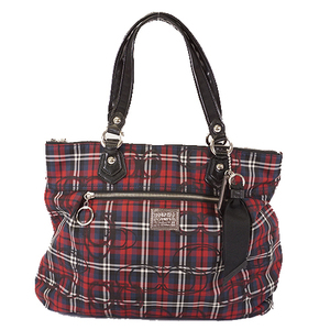 Auth Coach Tote Bag  Nylon Canvas Navy,Red 18713