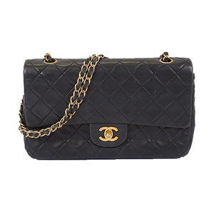 Auth Chanel Matelasse W Flap W Chain Shoulder Women's Leather Shoulder Bag Black