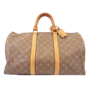 Louis Vuitton Monogram Keepol 45 M41428 Men Women Unisex Boston Bag Brown