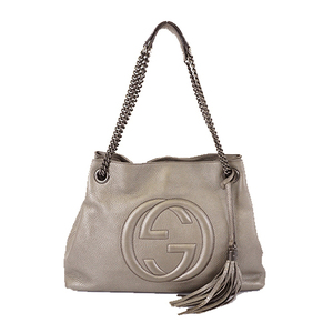 Auth Gucci Soho 308982 Women's Leather Tote Bag Silver Gray