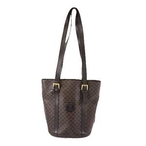 Auth Celine Macadam Women's PVC Tote Bag Black Gold Hardware