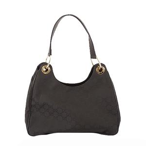 Auth Gucci shoulder bag 257265 GG pattern nylon black gold hardware