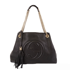 Auth Gucci Soho Chain Tote Bag  38982 Leather Black Gold Hardware