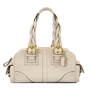 Auth Coach Hang Bag 10048 Women's Leather Off-white