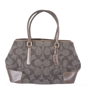 Auth Coach Signature Tote Bag 7721 Women's Wool Gray Silver Hardware