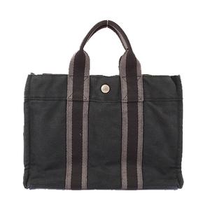 Auth Hermes Fourre Tout PM Women's Canvas Tote Bag Black