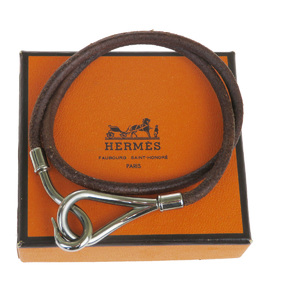 Hermes Jumbo Hook Double Roll Leather Charm Bracelet Brown