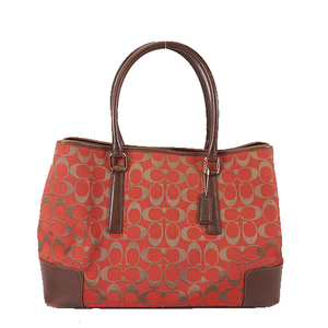 Auth Coach Signature Tote Bag 6086 Canvas Brown,Red Color