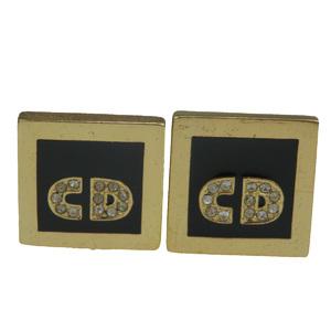 クリスチャン・ディオール(Christian Dior) 合金 ラインストーン スウィヴル式 カフス ゴールド CD ロゴ