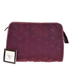 Christian Dior Nylon,Leather Clutch Bag Bordeaux