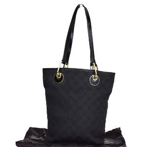 Gucci GG Canvas Canvas,Patent Leather Tote Bag Black