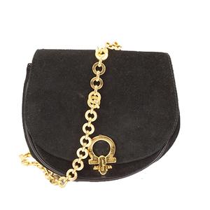 Auth Salvatore Ferragamo Gancini Shoulder Bag Women's Suede Black Gold Hardware