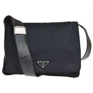 Prada Nylon,Leather Shoulder Bag Black