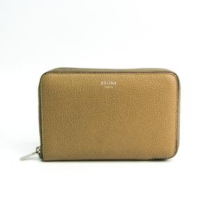 セリーヌ(Celine) ミディアムジップアラウンド 104393 レディース レザー 中財布(二つ折り) ベージュ,レッド