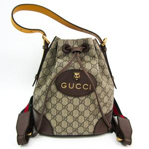 グッチ(Gucci) 473875 ユニセックス GGスプリーム,レザー リュックサック,ショルダーバッグ ベージュ,ダークブラウン,イエロー