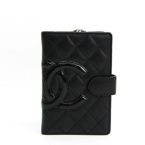 シャネル(Chanel) カンボン A50080 レディース  エナメルレザー 中財布(二つ折り) ブラック