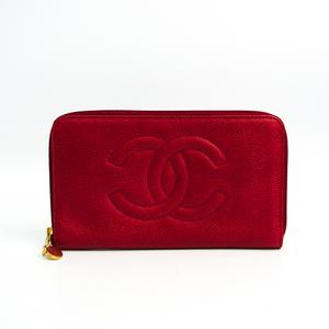 シャネル(Chanel) レディース キャビアスキン 長財布(二つ折り) レッド