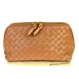 ボッテガ・ヴェネタ(Bottega Veneta) イントレチャート レザー 洗面具入れ/化粧ポーチ ブラウン