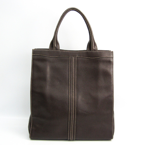 Valextra Medium Punch V5U07 Unisex Leather Tote Bag Dark Brown