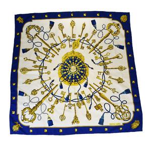 エルメス(Hermes) シルク スカーフ ブルー