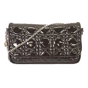 Christian Dior Cannage Chain Shoulder Bag Women's Patent Leather Black