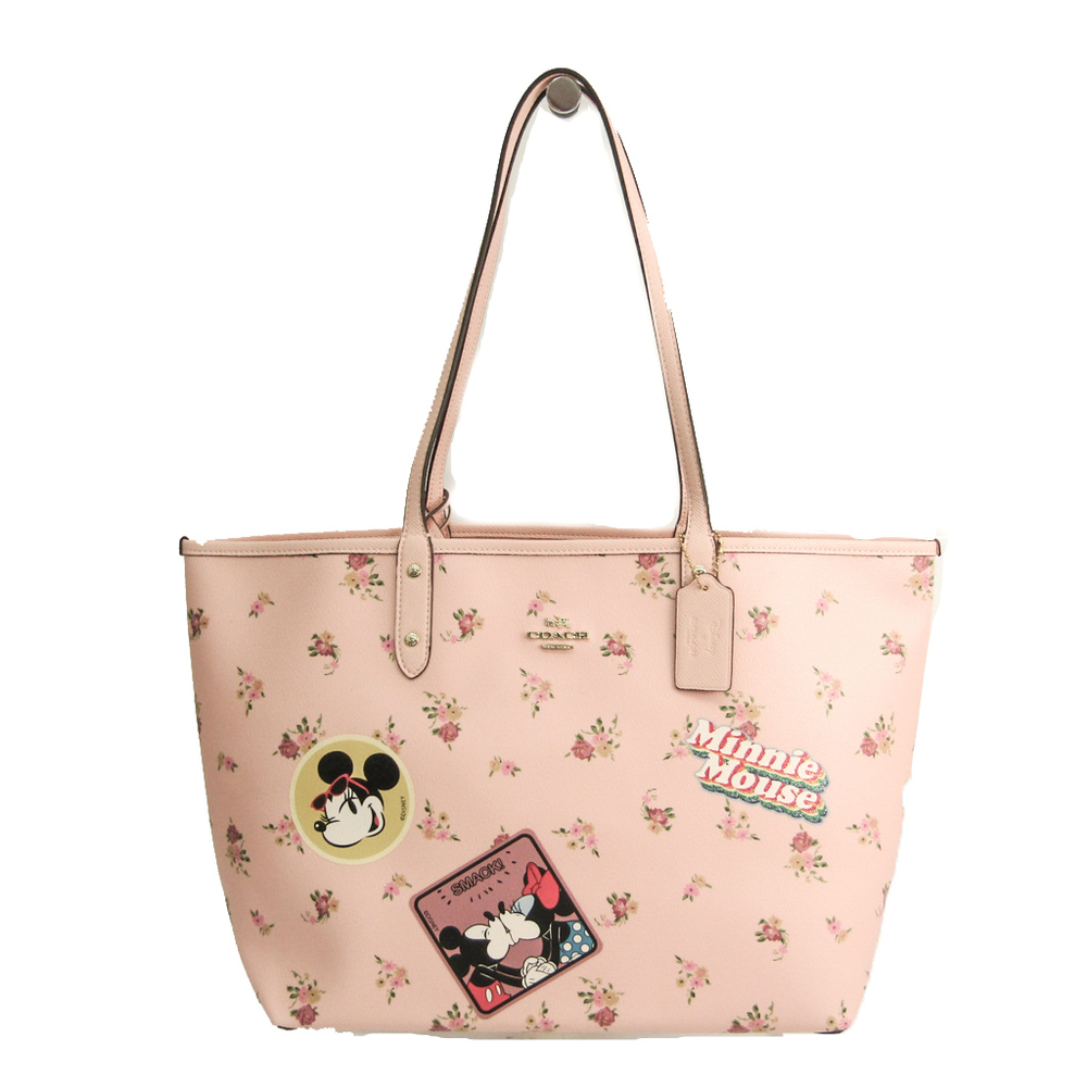 Coach Disney Collaboration Coach X Minnie Mouse Reversible Floral Print F29359 Women's Coated Canvas,Leather Tote Bag Light Pink,Multi-color