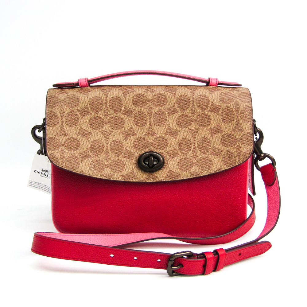 Coach Signature Kathy 74091 Women's Coated Canvas,Leather Handbag,Shoulder Bag Khaki Brown,Pink,Red Color
