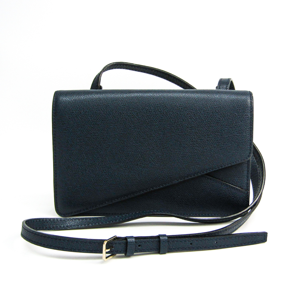Valextra Twist V5A87-028 Women's Leather Clutch Bag,Shoulder Bag Navy