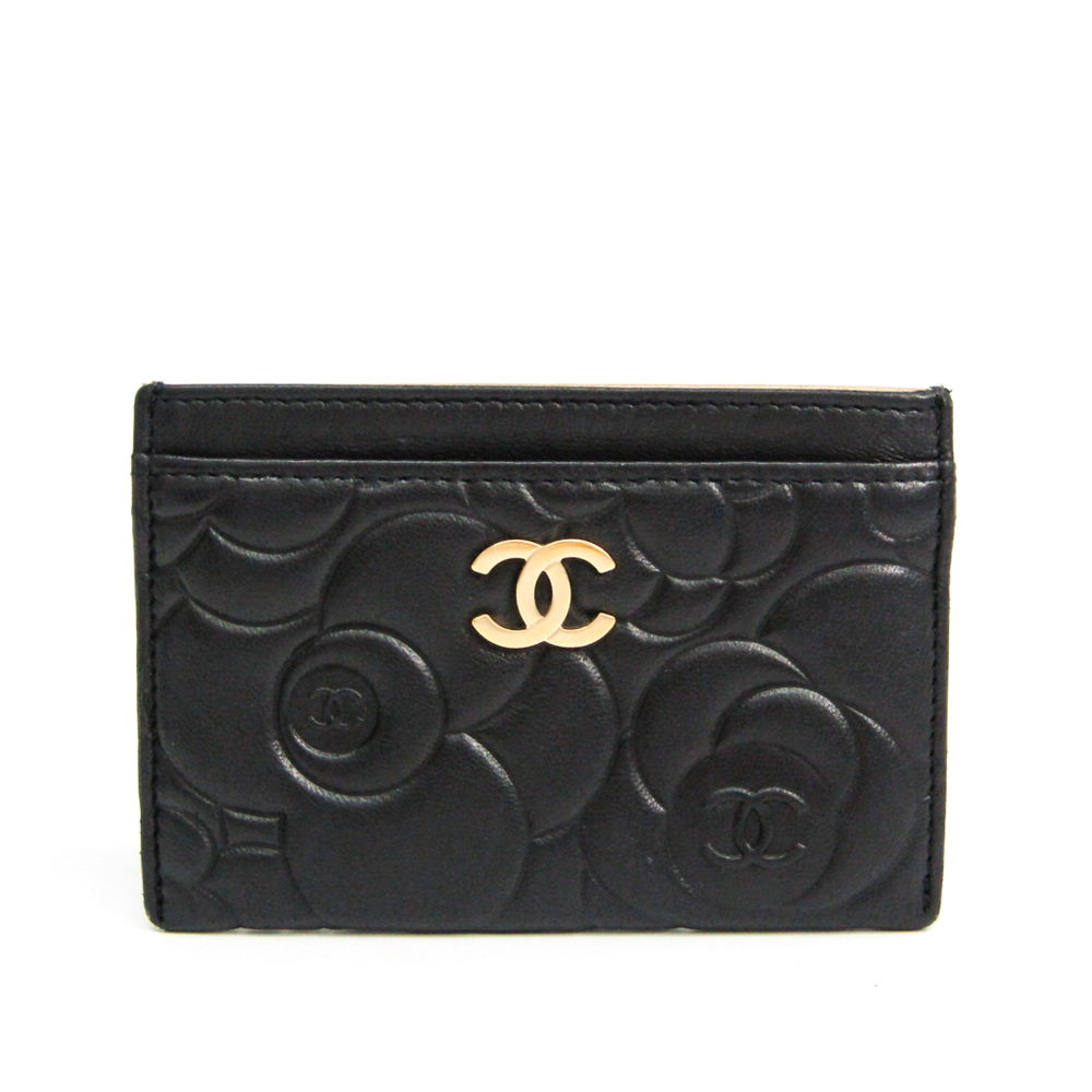 Chanel Camellia Leather Card Case Black