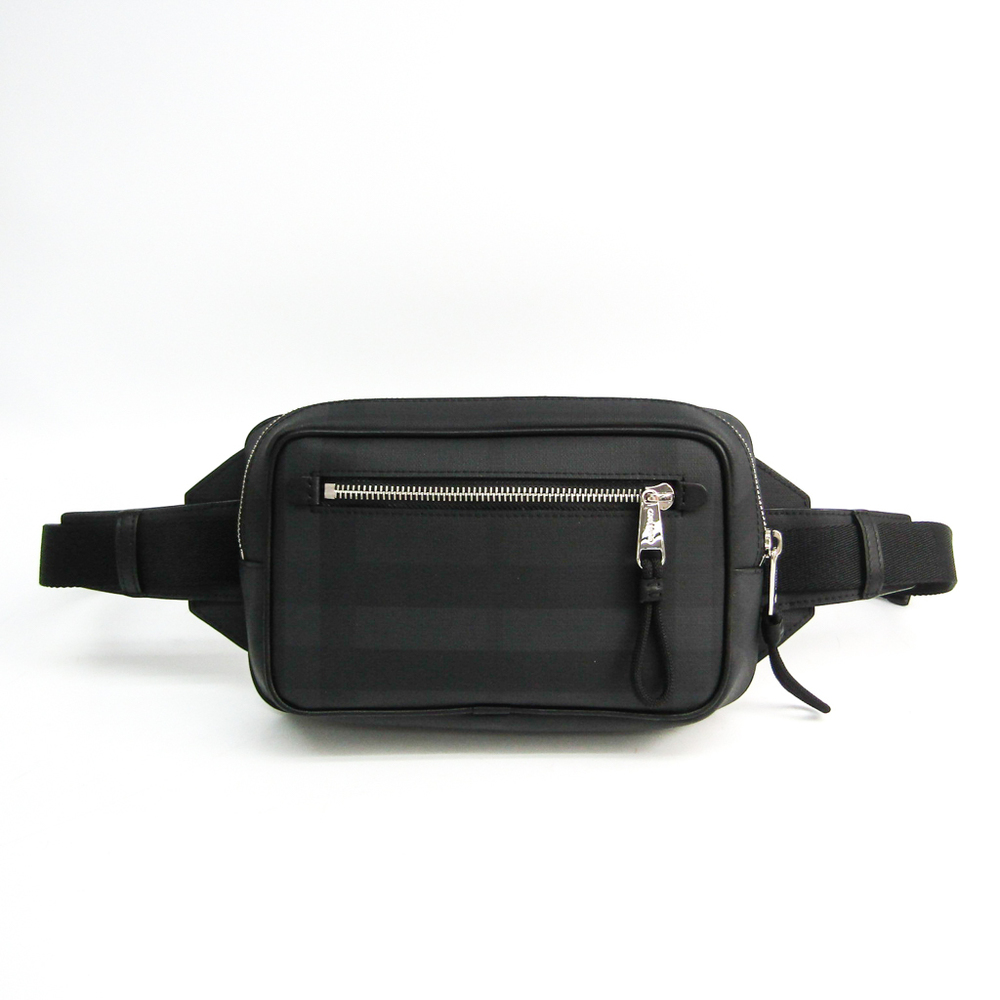 Burberry London Check 8017717 Unisex Leather,PVC Fanny Pack Black,Charcoal Gray