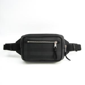 バーバリー(Burberry) ロンドンチェック 8017717 ユニセックス レザー,PVC ウエストバッグ ブラック,チャコールグレー