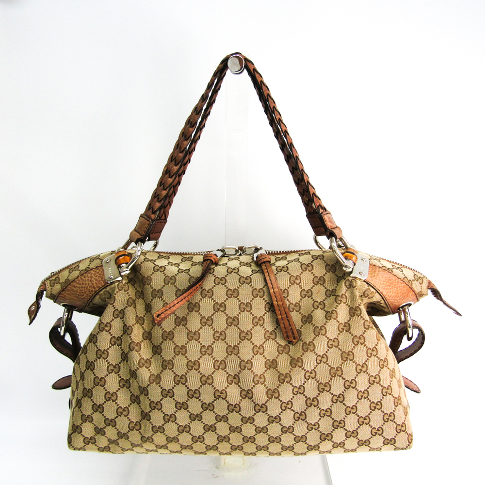 Gucci Bamboo 232959 Women's GG Canvas,Leather Boston Bag Beige,Brown