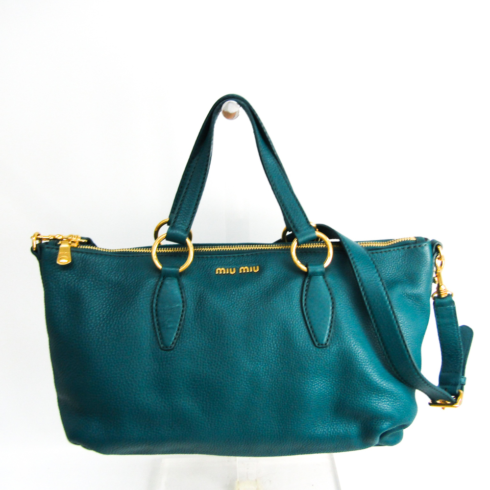 Miu Miu Women's Leather Handbag,Shoulder Bag Green