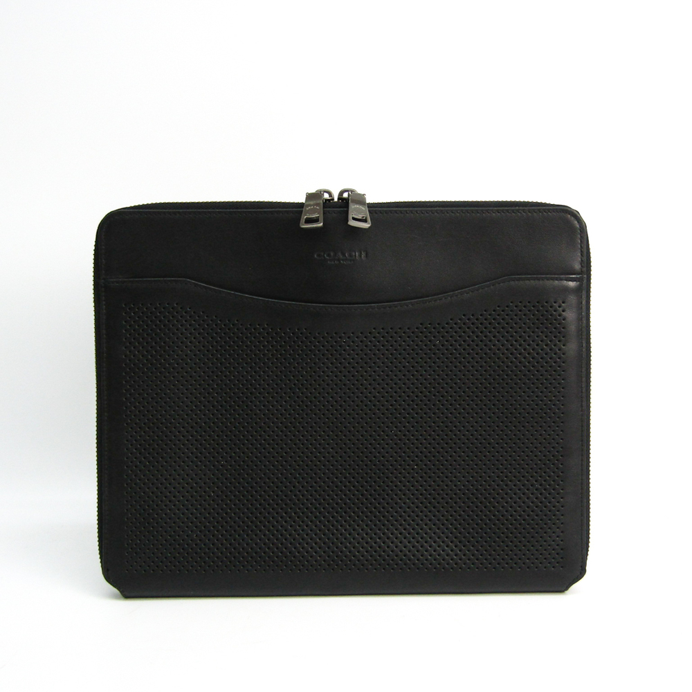 Coach Tablet Case Tech Case Punching Perforated Leather F65200 Unisex Leather,Leather Clutch Bag Black