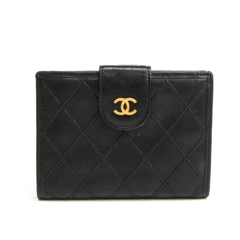 Chanel Bicolor Women's Leather Wallet (bi-fold) Black