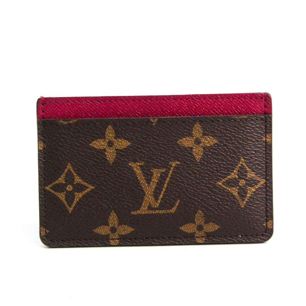 Louis Vuitton Monogram Porte Cartes Simple M60703 Monogram Card Case Fuchsia,Monogram