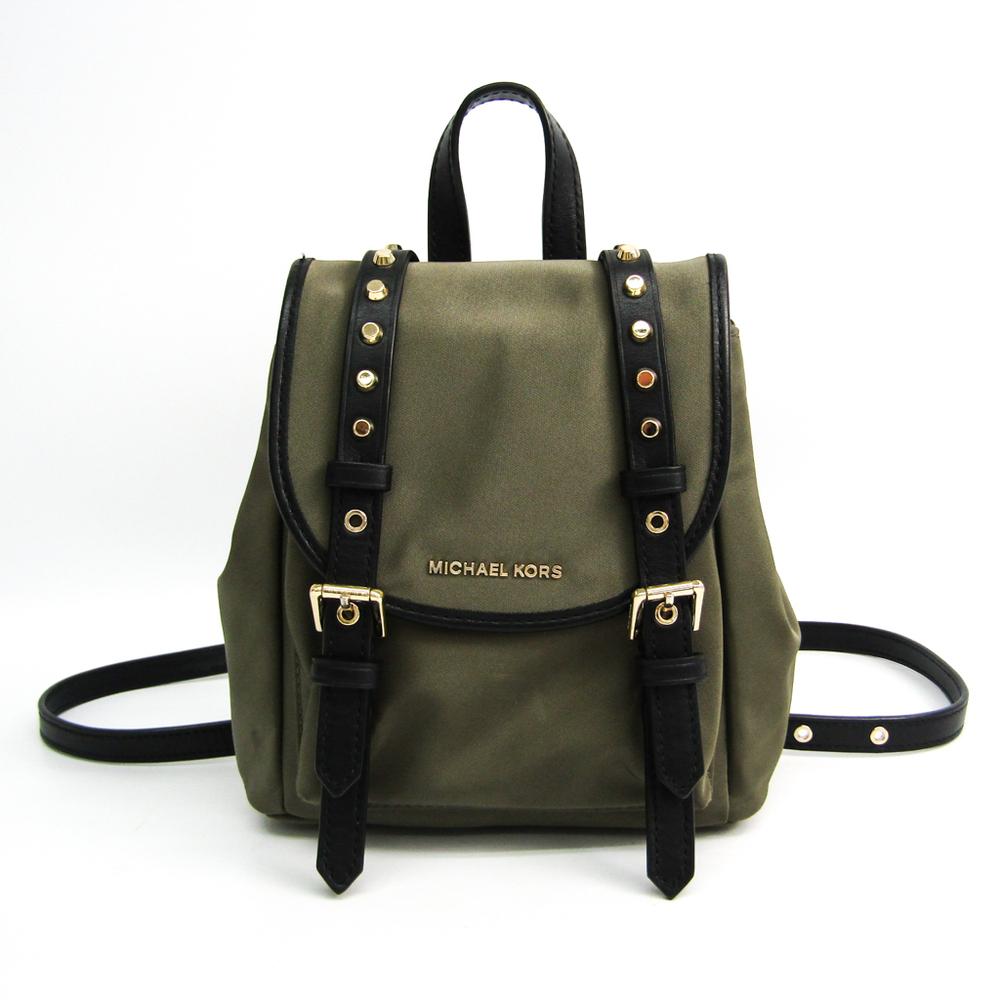 MICHAEL Michael Kors Signature 30S9LI1B0C Women's Nylon,Leather Backpack Black,Khaki