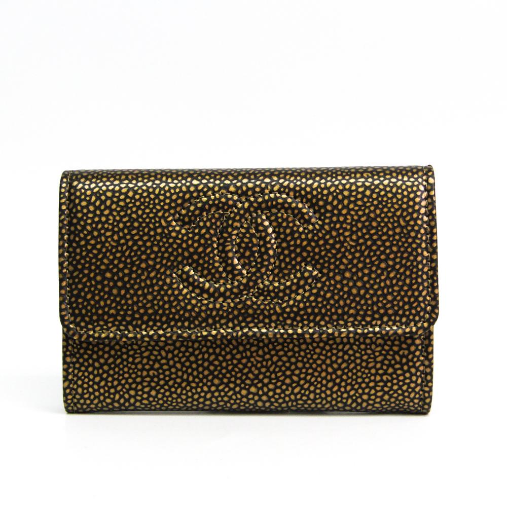 Chanel Coco Mark Caviar Leather Card Case Black,Gold
