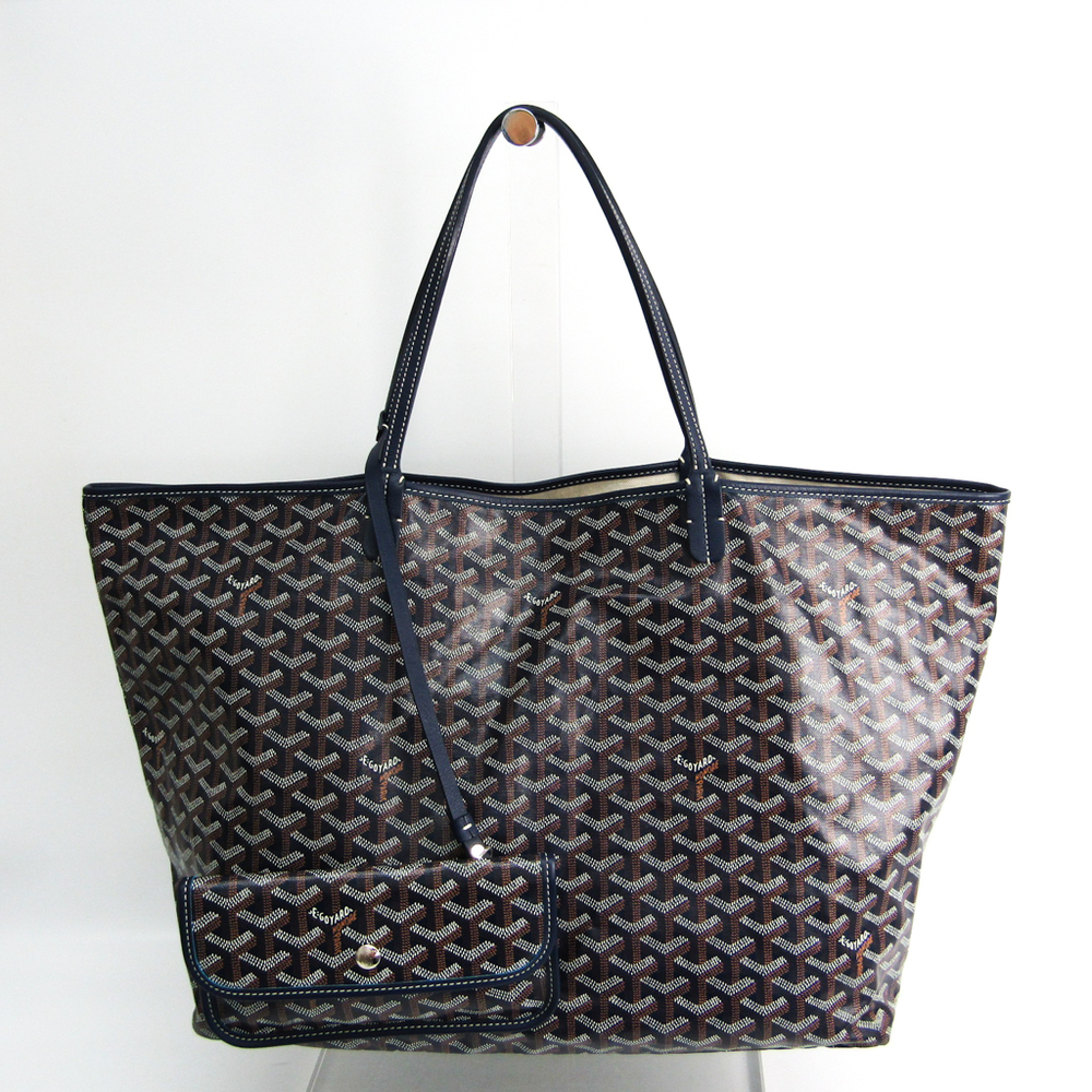 Goyard Saint Louis GM Women's Leather,Coated Canvas Tote Bag Brown,Dark Blue,White