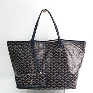 Goyard Saint Louis GM Women's Leather,Coated Canvas Tote Bag Brown,Dark Blue,White