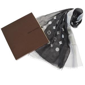 ルイ・ヴィトン(Louis Vuitton) モノグラム シルク アセテート スカーフ ブラック