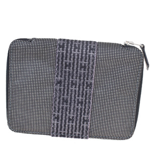 エルメス(Hermes) エール・ライン ラウンドファスナー キャンバス 財布 グレー