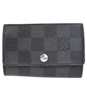 Louis Vuitton Damier Graphite Multicle 6 N62662 PVC Leather Key Case Gray