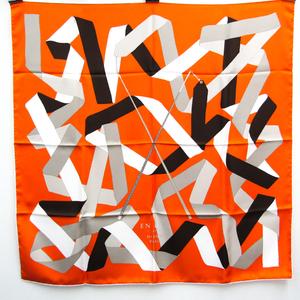エルメス(Hermes) カレ90 EN DUO リボン柄 レディース シルク スカーフ マルチカラー,オレンジ