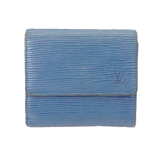 Auth Louis Vuitton Epi M63485 Women's  Wallet (bi-fold) Toledo Blue
