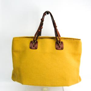 Bottega Veneta 170045 Women's Leather,Canvas Tote Bag Brown,Yellow