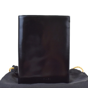 Bvlgari Passport Case Leather Wallet Black