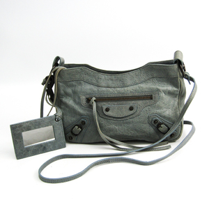 Balenciaga Classic The Hip 242803 Women's Leather Shoulder Bag Gray,Light Green