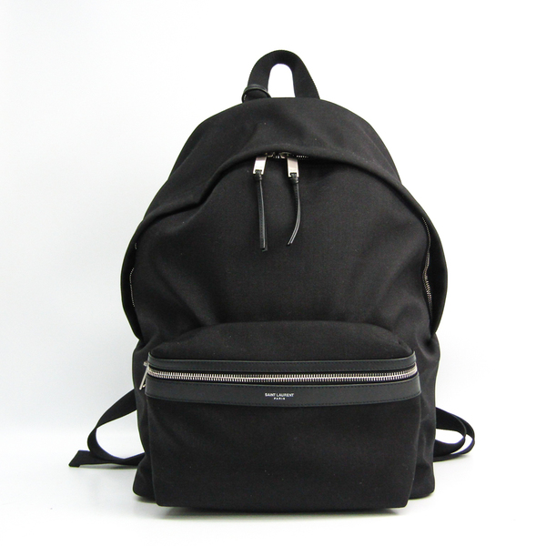 Saint Laurent CITY BACKPACK IN NYLON CANVAS AND LEATHER 534967 Unisex Nylon Canvas,Leather Backpack Black