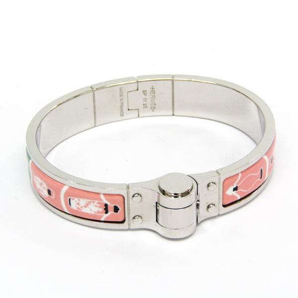 Hermes Enamel Bracelet, Charniere Fan Perfume Bottle/Bandana Cloisonné/enamel,Metal Bangle Black,Green,Pink,Silver,White Gold Plated